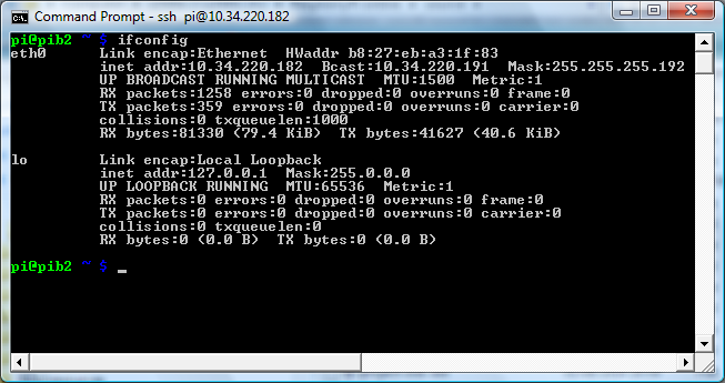 Screenshot of ifconfig command